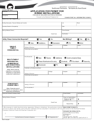 """Form NWT3723 """"Application for Permit for Wiring Installation - Electrical Workers Only"""" - Northwest Territories, Canada"""