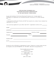 """""""Application to Renew as a Qualified Elevator Constructor in the Northwest Territories"""" - Northwest Territories, Canada"""