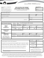 """""""Application for Permit for Wiring Installations - Residential Property Owners Only"""" - Northwest Territories, Canada"""