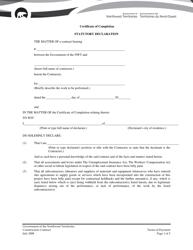 """Certificate of Completion - Statutory Declaration"" - Northwest Territories, Canada"