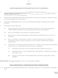 """Form 3 """"Acknowledgement of Purchaser That Is Not an Individual"""" - Northwest Territories, Canada"""