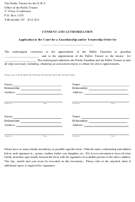 """""""Consent and Authorization Application to the Court for a Guardianship and/Or Trusteeship Order"""" - Northwest Territories, Canada"""