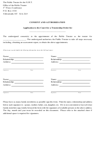 """""""Consent and Authorization Application to the Court for a Trusteeship Order"""" - Northwest Territories, Canada"""