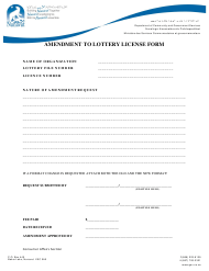 """Amendment to Lottery License Form"" - Nunavut, Canada"