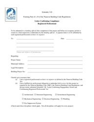 "Schedule 3-D ""Letter Confirming Compliance - Registered Professional"" - Nunavut, Canada"