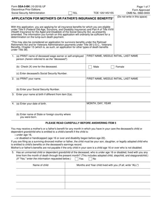 Form SSA-5-BK Printable Pdf