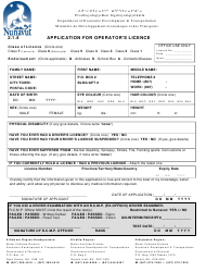 """Application for Operator's Licence"" - Nunavut, Canada"