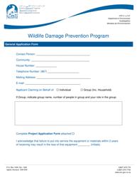 """Wildlife Damage Prevention Program General Application Form"" - Nunavut, Canada"