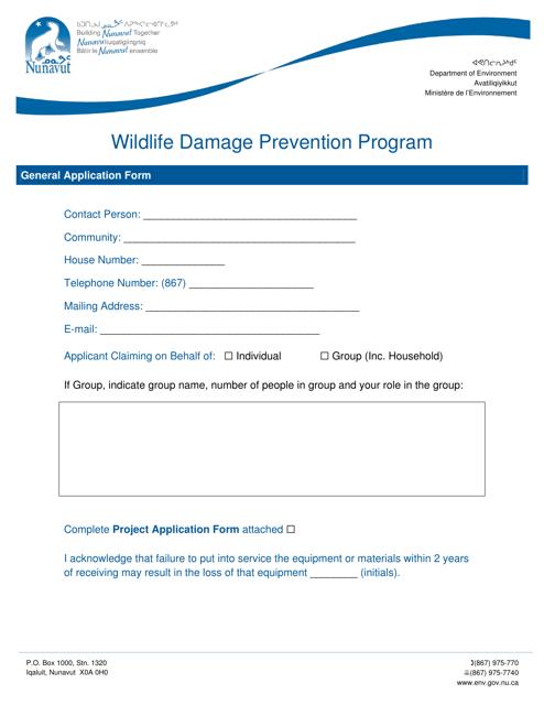 """Wildlife Damage Prevention Program General Application Form"" - Nunavut, Canada Download Pdf"
