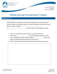 """Wildlife Damage Compensation Program Affidavit of Loss"" - Nunavut, Canada"