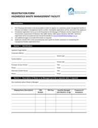 """Registration Form Hazardous Waste Management Facility"" - Nunavut, Canada"