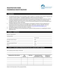 """Registration Form for Hazardous Waste Receiver"" - Nunavut, Canada"