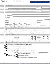 """""""Demande De Certificat De Depot"""" - Quebec, Canada (French)"""
