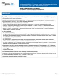 """""""Demande D'adhesion a La Liste DES Medias Communautaires Reconnus Par Le Ministere De La Culture Et DES Communications"""" - Quebec, Canada (French)"""