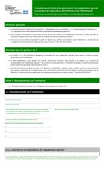 """""""Formulaire Pour La Fiche D'enregistrement D'une Exploitation Agricole Au Ministere De L'agriculture, DES Pecheries Et De L'alimentation"""" - Quebec, Canada (French)"""
