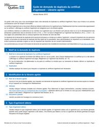 """""""Formulaire De Demande De Duplicata D'un Certificat D'agrement - Librairie Agreee"""" - Quebec, Canada (French)"""