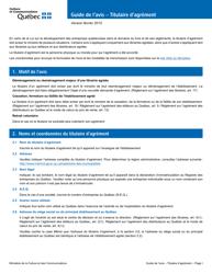 """""""Formulaire De L'avis - Titulaire D'agrement"""" - Quebec, Canada (French)"""