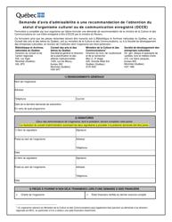 """""""Demande D'avis D'admissibilite a Une Recommandation De L'obtention Du Statut D'organisme Culturel Ou De Communication Enregistre (Occe)"""" - Quebec, Canada (French)"""
