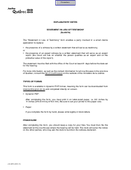 """Form SJ-837A """"Statement in Lieu of Testimony"""" - Quebec, Canada"""
