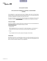 """Form SJ-855A """"Application for Transfer to the Small Claims Division"""" - Quebec, Canada"""