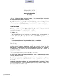 "Form SJ-1079A ""Request for Copies"" - Quebec, Canada"