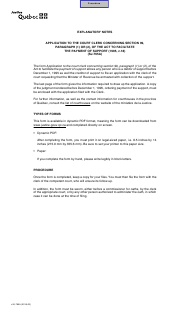 """Form SJ-765A """"Application to the Court Clerk Concerning Section 99, Par. (1) or (2), of the Act to Facilitate the Payment of Support"""" - Quebec, Canada"""