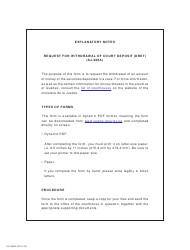 """Form SJ-366A """"Request for Withdrawal of Court Deposit (Dret)"""" - Quebec, Canada"""