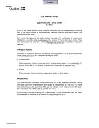 "Form SJ-833A ""Civil Union - General Information"" - Quebec, Canada"