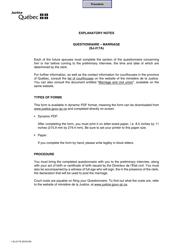 "Form SJ-217A ""Civil Marriage - General Information"" - Quebec, Canada"