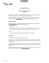 "Form SJ-224A ""Claim/Voluntary Deposit"" - Quebec, Canada"