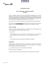 "Form SJ-226A ""List of Creditors (Voluntary Deposit)"" - Quebec, Canada"