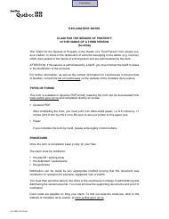 """Form SJ-255A """"Claim for the Seizure of Property in the Hands of a Third Person"""" - Quebec, Canada"""