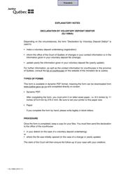 "Form SJ-1086A ""Declaration by Voluntary Deposit Debtor"" - Quebec, Canada"