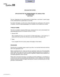 "Form SJ-1010A ""Application for the Reimbursement of Judicial Fees or Court Fees"" - Quebec, Canada"