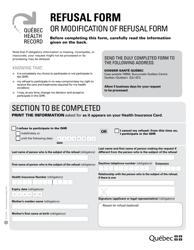"""Refusal Form or Modification of Refusal Form"" - Quebec, Canada"