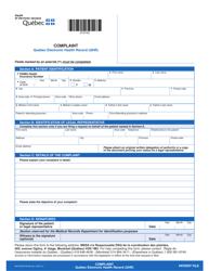 "Form AH-615A DT9193 ""Quebec Electronic Health Record (Qhr) Complaint"" - Quebec, Canada"