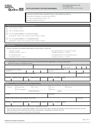 """""""Application for Withdrawal"""" - Quebec, Canada"""