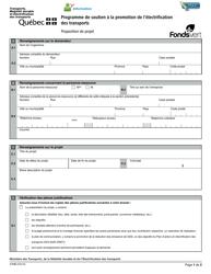 """Forme V-3183 """"Programme De Soutien a La Promotion De L'electrification DES Transports Proposition De Projet"""" - Quebec, Canada (French)"""