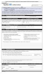 """Forme SR-0040 """"Certificat Medical"""" - Quebec, Canada (French)"""
