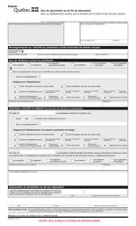 """Forme SR-0060 """"Avis De Placement Ou De Fin De Placement D'un Prestataire Dans Un Etablissement Reconnu Par Le Ministere De La Sante Et DES Services Sociaux"""" - Quebec, Canada (French)"""