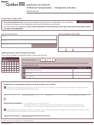 """Form SR-2590A """"Application for Payment of Medical Transportation - Therapeutic Activities"""" - Quebec, Canada (English/French)"""