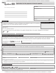 """Form SR-0006FA """"Application for the Payment of Funeral Expenses"""" - Quebec, Canada"""
