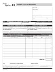 """Forme SR-2171 """"Estimation Du Cout DES Medicaments"""" - Quebec, Canada (French)"""
