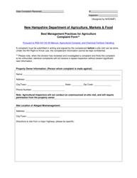 """Best Management Practices for Agriculture Complaint Form"" - New Hampshire"