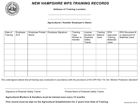"""""""New Hampshire Wps Training Records"""" - New Hampshire Download Pdf"""