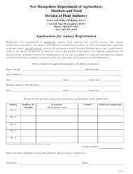 """""""Application for Apiary Registration"""" - New Hampshire"""