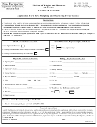 """""""Application Form for a Weighing and Measuring Device License"""" - New Hampshire"""