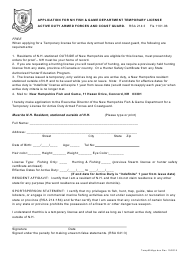 """""""Application for Nh Fish & Game Department Temporary License Active Duty Armed Forces and Coast Guard"""" - New Hampshire"""