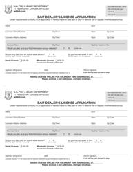 """Form BUS16008 """"Bait Dealer's License Application"""" - New Hampshire"""