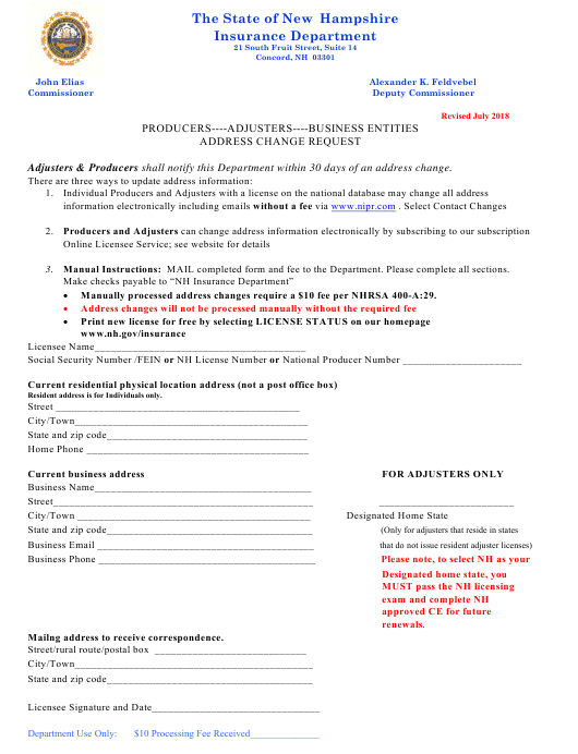 """Address Change Request Form"" - New Hampshire Download Pdf"
